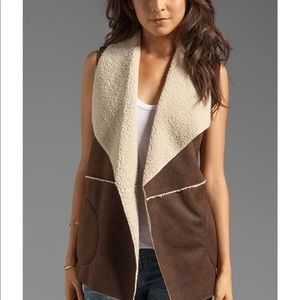 C&C Distressed Faux Shearling Vest NWT